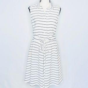 LARRY LEVINE DRESS with Pockets Stripe Black White
